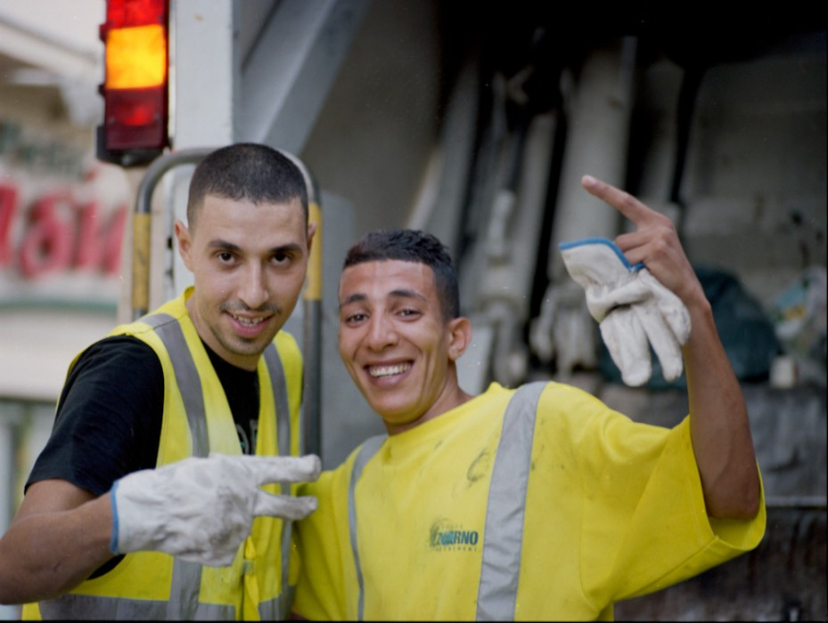 two happy dustmen in the streets of nice | by bertram rusch